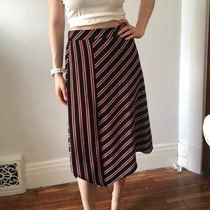 Black Asymmetrical Skirt with Red & White Stripes